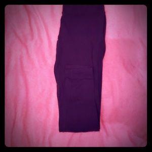 Purple cotton leggings mid-rise